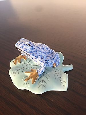 Herend Handmade Blue Frog On Lily Pond