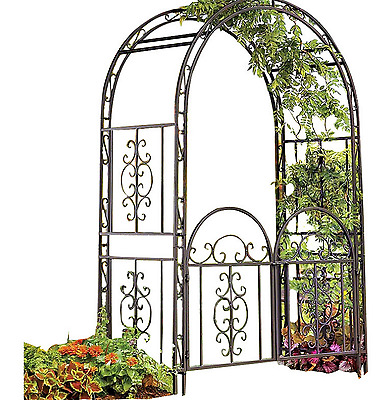 Garden Arbor Gate Arched Intricate Scrollwork Design Home Outdoor Patio Decor
