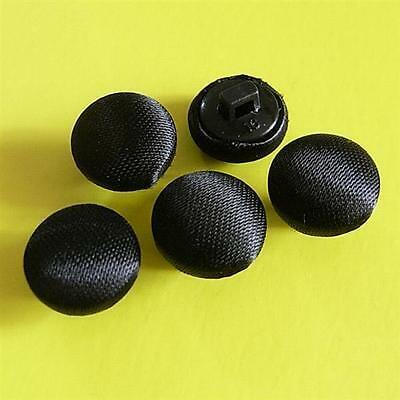 20 Vintage Satin Fabric Covered Handmade Shirt Buttons 11.5mm Matte Black G132