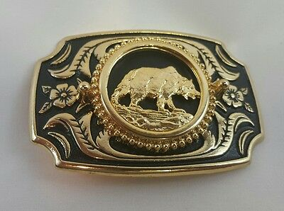 Bear Belt Buckle gold and black metal western Made in the USA