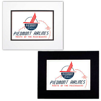 Vintage Piedmont Airlines Route of the Pacemakers Design Print with Double Mat