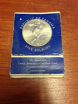 1970 Unc Panama 5 Balboas Silver Coin in Mint Card *Low Mintage*