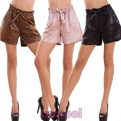 shorts woman shorts eco-leather elastic ample high waist bow new CR-2483