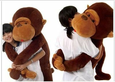 Brown Lovely Giant Big Soft Stuffed Plush Monkey Huge 110CM Doll Toy +free gift