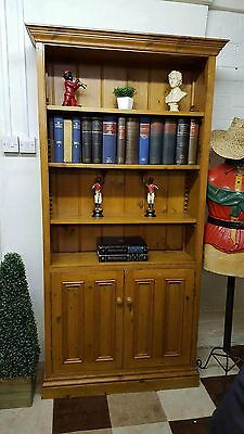 solid pine tall open bookcase with cupboard, hall cupboard