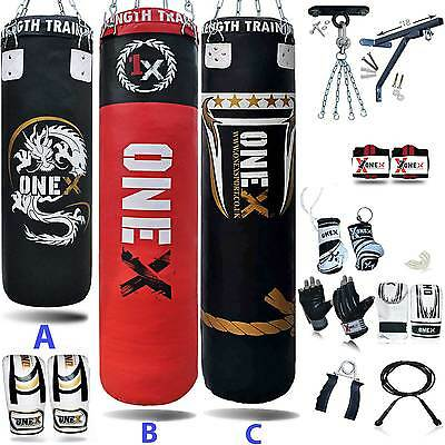3ft 4ft 5ft 17 Piece Boxing Set Filled Heavy Punch Bag Glove Bracket Chains
