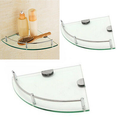 Bathroom Glass Triangular Wall Mount Corner Shelf Rack Storage Holder 2 Size