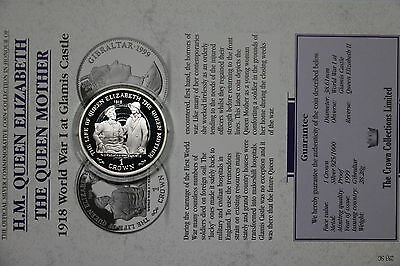 Gibraltar 1 Crown 1999 Silver Proof Queen Mother With Coa Cxqueen30 A60