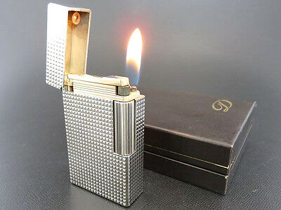 S.T. Dupont Line 1 Lighter Large Size Silver Plated Diamond Head Pattern & Box