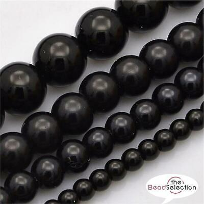200 TOP QUALITY BLACK MIXED SIZE ROUND GLASS PEARL BEADS 4mm 6mm 8mm 10mm 12mm