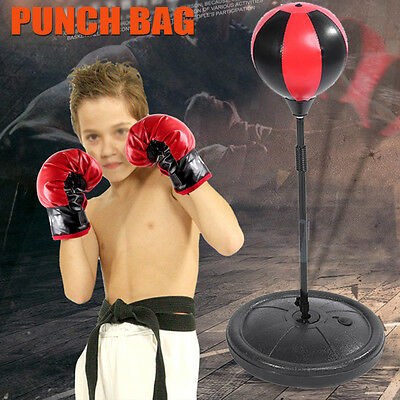 KIDS STANDING BOXING GLOVES PUNCH BAG SPEED BALL TRAINING PUNCHING STAND + Pump