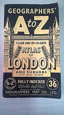 """Vintage Geographers Map Co. Ltd """"ATLAS OF LONDON A to Z – Maps, Collectable"""