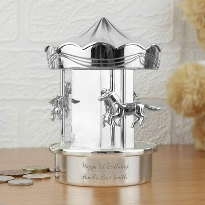 Silver Carousel Personalised Piggy Bank Carousel Money Coin Bank Box Christening