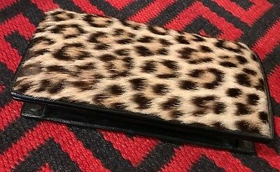Vintage real leopard fur and black leather clutch pochette fourrure 1950