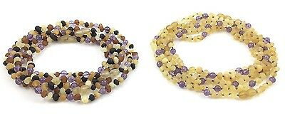 Amber Wholesale Lot - 10 Raw Amber Necklaces with Amethyst, 32 cm, TipTopEco