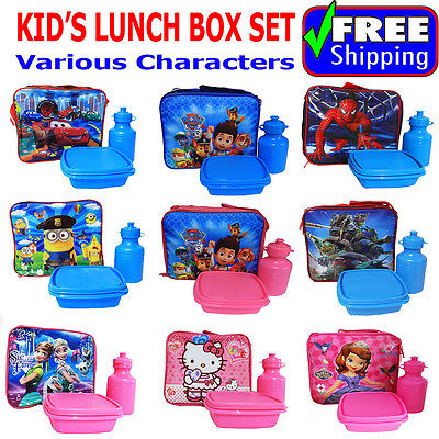 New Kids Insulated Lunch Box Set School Bag Frozen Turtle Paw Spiderman Minion