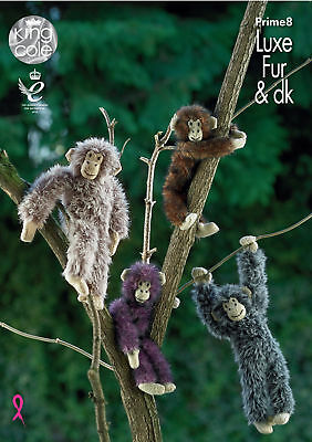 Luxe Fur & DK Knitting Pattern Small or Large Chimpanzees Toys King Cole Prime8
