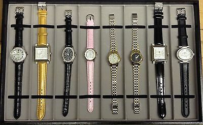 New Job Lot Wholesale x8 Womens Watches Fashion Crystal Faux Leather Stainless