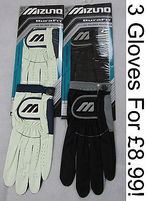Mizuno Dura Fit Golf Glove - PACK OF 3 - XL ONLY - White OR Black - RRP£30