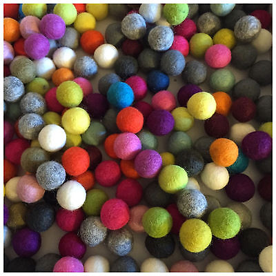 Fair Trade Nepal Wool Ball Felt Colourful Bright Felt Balls 2cm 20mm / 1cm / 100