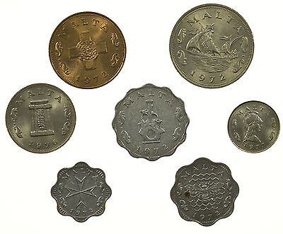Malta, Type Set Collection Of 7 Coins, 1972-1977