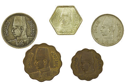 Egypt, Collection Of 5 Coins, Inc Silver, Middle East, 1938-1944
