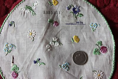 """Antique Swiss Hand Embroidered Tiny Doll Scale Flowers on Linen~6"""" Round"""