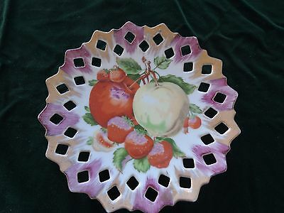 VTG Wall Plate-Pierced-Apples + Strawberries-40's- 50's-7.5 ""