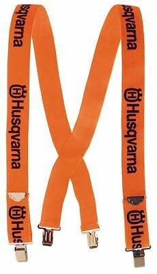 HUSQVARNA *CHAINSAW TROUSER BRACES METAL CLIPS* Orange/Black, strong Metal Clips