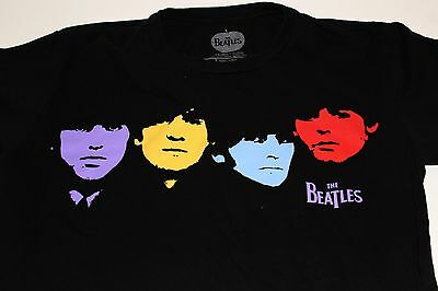 The Beatles Multi Colored Faces 2010 Black T Shirt Size Small