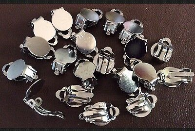 20 Clip On Earring Findings, Blanks With Glue Pad