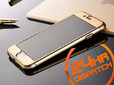 360° Body Protective Gold Front+Back Case+Tempered Glass For iPhone 7 {[if574