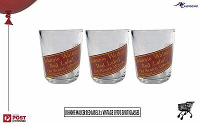 Johnnie Walker Scotch 3 x Vintage Spirit Glasses Red Retro 280ml 1970's no repo