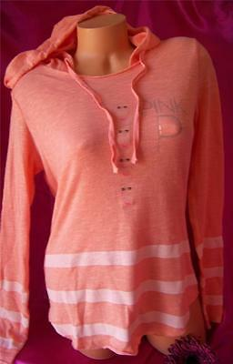 Nwt Victoria's Secret *pink* Cozy Striped Pullover Hoodie Sweater Sweatshirt *xs