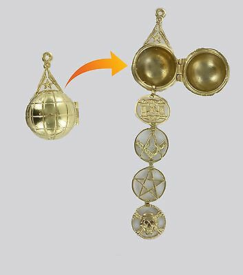 Rare Masonic ladder Orb - Solid Silver Gold plated