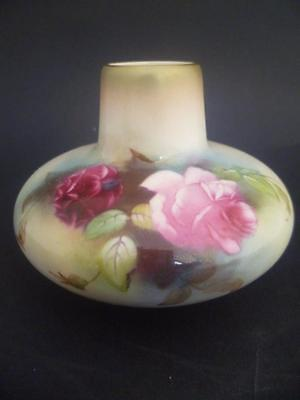 Royal Worcester  Hand Painted Hadley Roses Vase Dated 1900