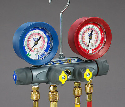"Yellow Jacket 46022  BRUTE II Manifold, 3-1/8"" Gauges, 60"" Hoses, R-12/404A/410A"