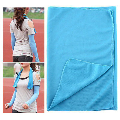 Exercise Ice Cold Cool Towel Reuseable Jogging Sports Golf Fitness Blue