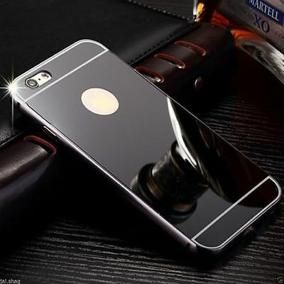 Black Aluminum Mirror Metal Hard Protective Back Case Cover For Iphone 7 {[if286