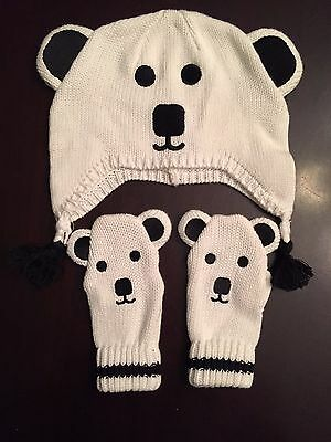 Gymboree Baby White Knit Polar Bear Hat and Gloves Set Size 12-24 Months