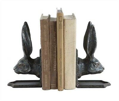 Set of Cast Iron Rabbit Head Shaped Bookends