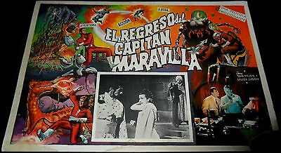 1941 Adventures of Captain Marvel ORIGINAL 60s LOBBY CARD Comics MEXICAN C