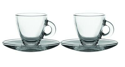 Set Of 2 Glass Expresso Cups & Saucers Serving Set 8cl 80ml Coffee Shot Mugs