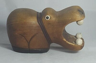 Beautiful Vintage Wooden Carved Decorative Hippo Figure