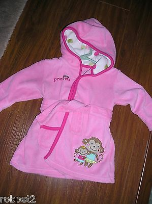 Carters Just One You 0-9m Baby Little Princess Pink Housecoat W/monkeys on side.