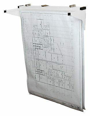Adir Drop Lift White Wall Rack for Blueprints Plans with 12-File Hanging Clamps