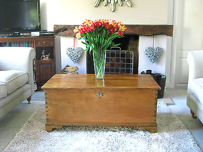 Circa 1850s Antique Pine Trunk / Chest with Bracket Feet - Coffee Table