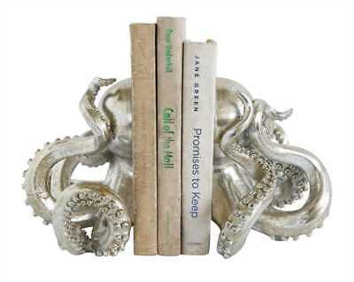 Set of Silver Resin Octopus Bookends