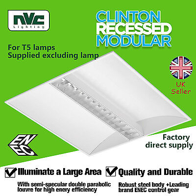 NVC Ceiling Fluorescent light 24W, Recessed modular fitting for T5 lamps, louvre
