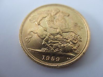 1959 Queen Elizabeth Full Gold Sovereign Uncirculated Superb Condition